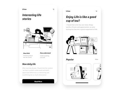 A  inspiration life app brand white black app typography branding ui  ux illustration colour black  white web clean design