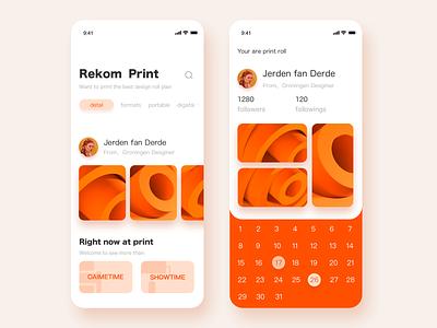 Print App •  Mobile Screen organic print app orange colors colors prints print design printmaking printing orange vector ui  ux animation app colour ux clean design