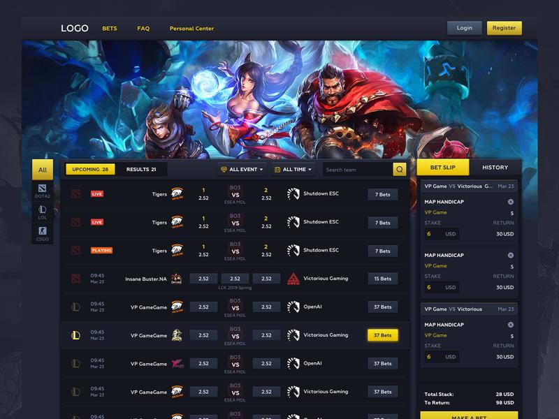E-sports betting 电子竞技 投注 英雄联盟 csgo 游戏 网页设计