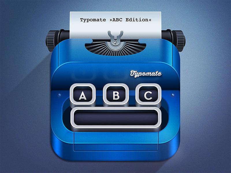 Typomate ABC Typewriter typewriter icon app icon metal reflection paper chrome typography