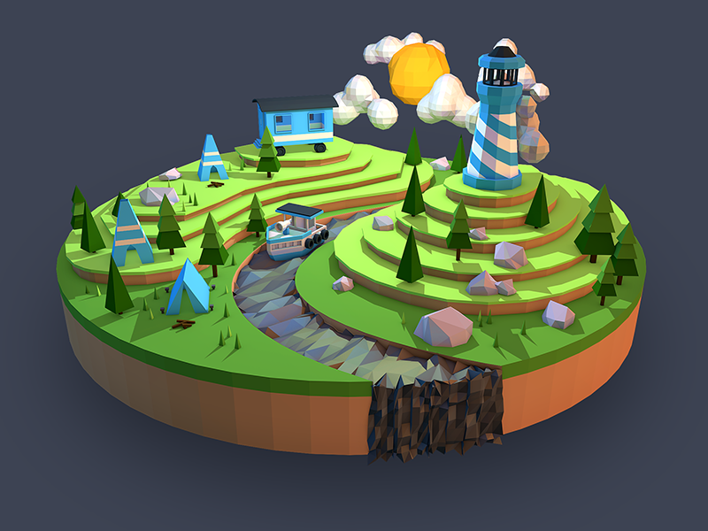Low poly camping landscape by fabricio rosa marques dribbble for House design games online 3d free