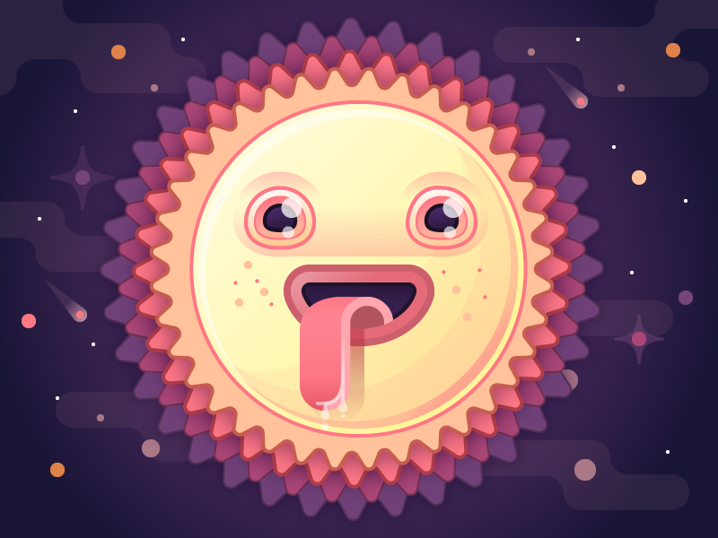 Drooling Sunny Dude sun character illustration illustrator space sky meteor planet fun vector