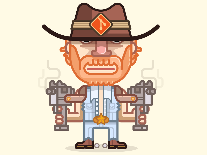 Chuck 'Git' Norris character guy hero illustration fun gun uzi git version control