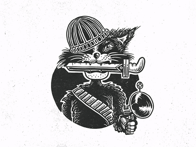 Criminal Cat illustration animal cat gangster bw analog sketch knife gun fun