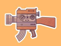 Camera Gun Sticker camera gun sticker sticker mule contest vintage wood illustration gadget device