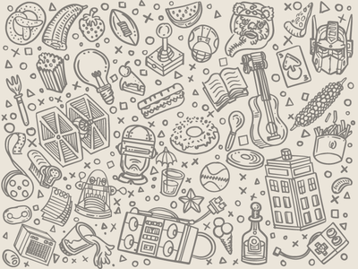 Sketchy Pattern Elements pattern illustration sketch sketchy vector feint wallpaper tardis character transformers