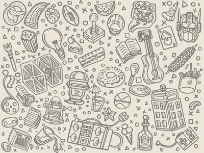 Sketchy Pattern Elements pattern illustration sketch sketchy vector feint wallpaper tardis character transformers