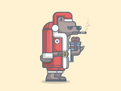 Grumpy Christmas illustration character christmas bear present xmas simple vector santa claus illustrator