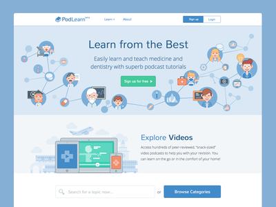 PodLearn Landing Page illustration vector simple web design landing page screen design interface design ui design hero medical icon design