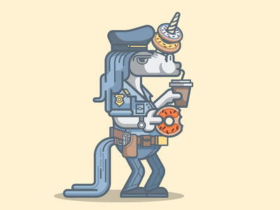 Unicop animal illustration cop police doughnut horse unicorn illustrator vector character