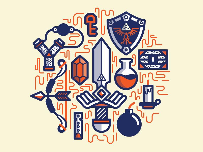 Zelda Essentials illustration colorful zelda game fanart weapon sword flute bomb bow arrow chest