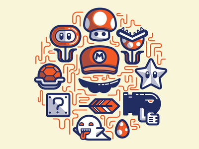 Super Mario Essentials illustration game colorful fanart mushroom hat bullet star carapace feather ghost egg