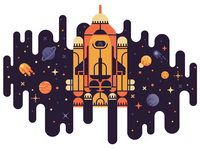 Up Up To The Stars illustration vector simple minimal colorful rocket space cosmos contest stickermule planets