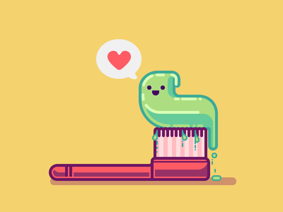 Tooth Buddy illustration colorful simple slime brush character cute fun illustrator vector love