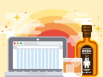 Bourbon & Neat programming code scss booze robot character blog computer simple vector illustration drink