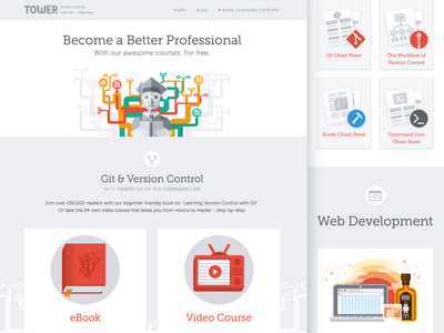 Learn with Tower screen design learn landing page responsive illustration web design ui design interface design