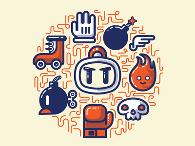 Bomberman Essentials nintendo bomberman snes game vector illustrator fun character simple essentials collection illustration