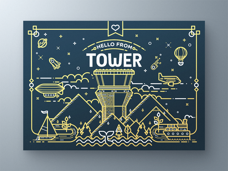 Tower Greeting Card space sky nature illustrator vector illustration flyer print card