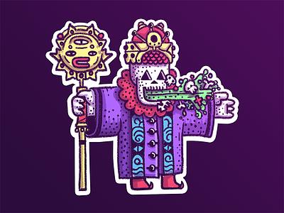 Evil Warlock stickermule character illustration puke goo magic skull