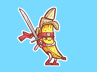 Samurai Banana contest stickermule illustration digital painting photoshop samurai sword banana sticker