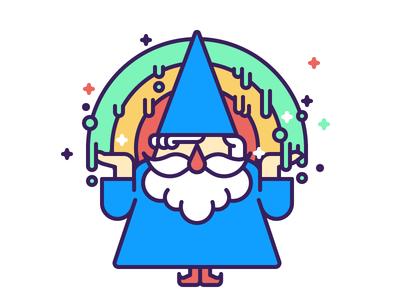 Rainbow Wizard rainbow simple fun vector wizard magician magic character illustration