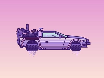 Floating DeLorean movie illustrator illustration gradients pop culture back to the future vehicle car