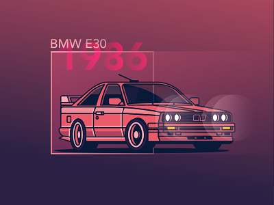 BMW E30 night light vehicle 80s retro adobe illustrator illustrations bmw car