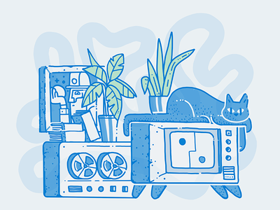 Living Room Tiger tv tech cat ipad pro procreate illustration