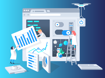 Building Dashboards characters 3d web app ui science drone dashboard data vector illustration