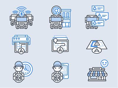 Trucking Spot Illustrations location print notification drive map spot illustration icon set icon truck vehicle illustration