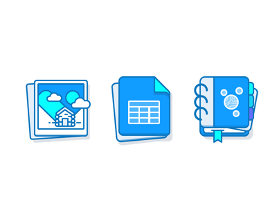 Photos, Spreadsheets, Notes spreadsheet sheet notebook photo icon illustration