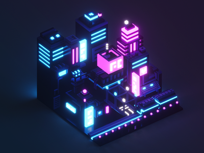 Isometric Neon City neon night city voxel low poly 3d illustration