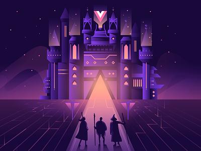 Adventure awaits vector neon 80s castle night illustration