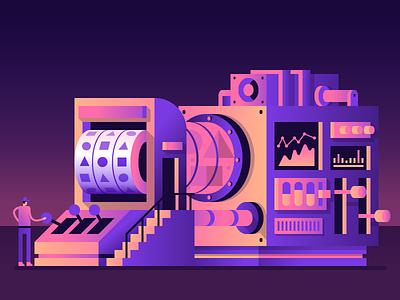 Code Machine gradients random night geometry device machine illustration