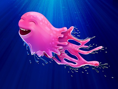 Squiddy Thingy character underwater deep sea slime water monster creature illustration photoshop