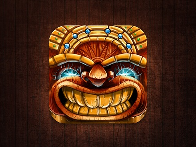 Tiki Kingdom App Icon app icon game app icon mask wood metal gold shiny smile character
