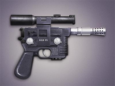 Han Solo Blaster »HAN 21« star wars illustration gun pistol weapon blaster photoshop han solo
