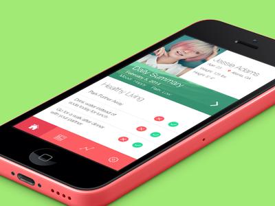 Female Health App ui green red pink helvetica neue