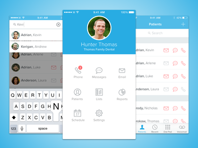 Dental App app ios ui ux iphone minimal keyboard blue contacts sketch sketchapp