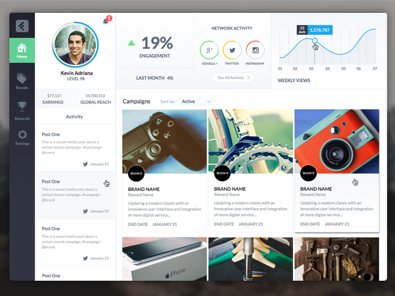 User Dashboard gaming sketchapp ui ux dashboard profile hq brands analytics game social network