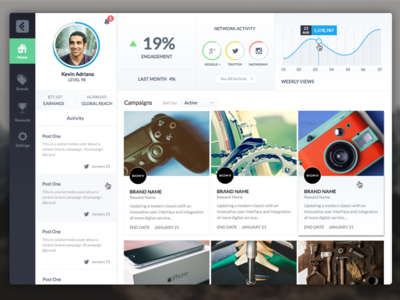 User Dashboard gaming sketchapp ui ux dashboard profile hq brands analytics game social network