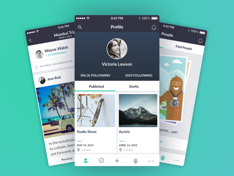 Collaboration App travel hq minimal sketchapp social network sasquatch bigfoot collaborate story app iphone