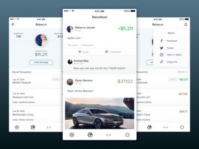 Social Banking App money sharing share ui iphone app banking social