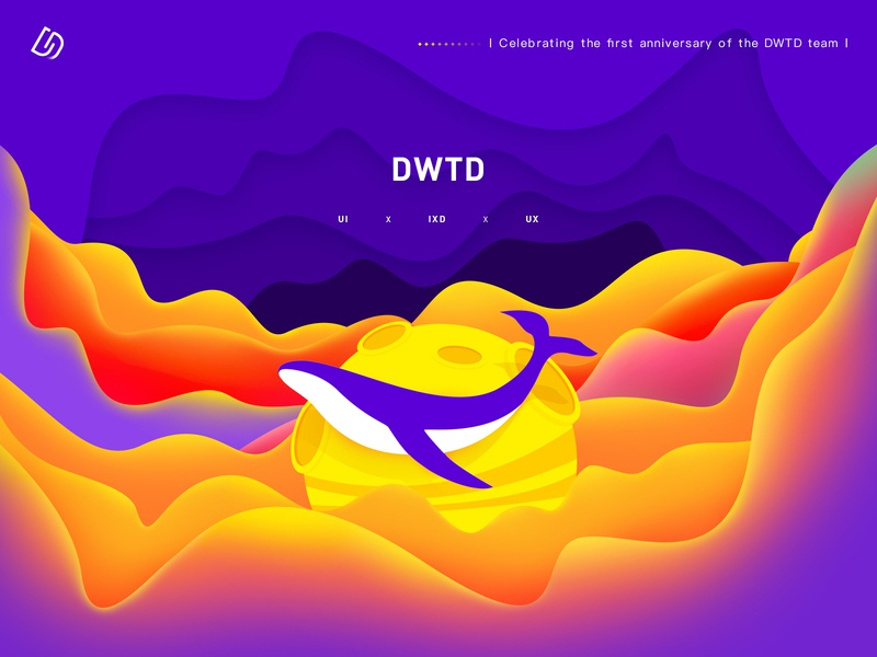 Happy first anniversary of the DWTD team ui deisgn anniversary planet whale color illustration design illustration ui design