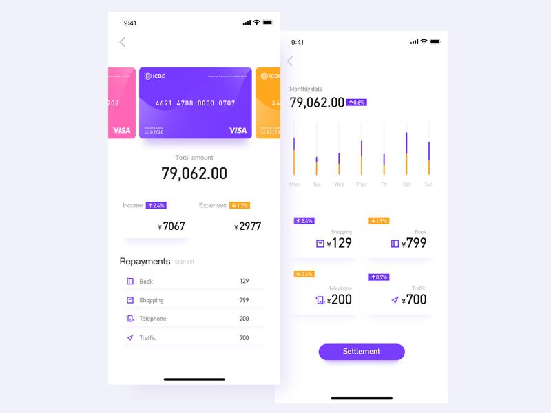 Wallet application UI deisgn application application ui bank card wallet app ui deisgn icon design ui