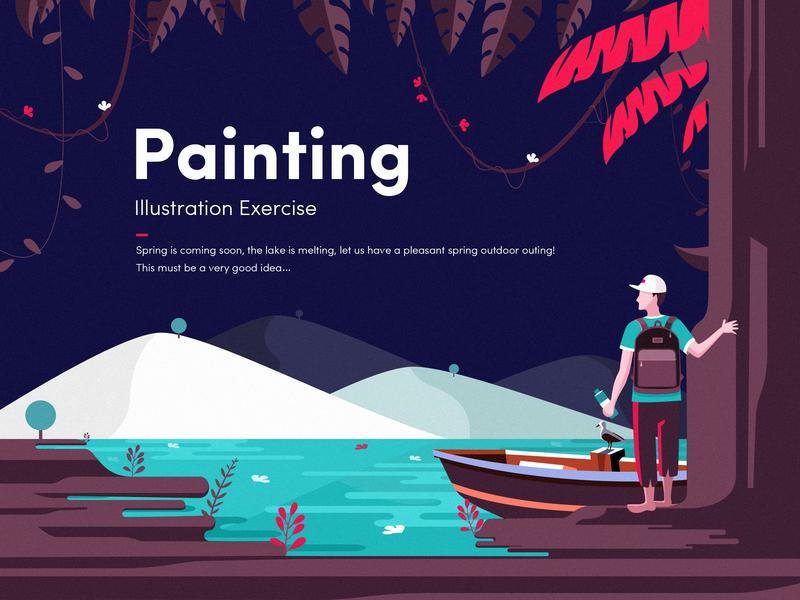 """""""Spring"""" illustration exercise vector spring landscape color illustration ui deisgn illustration design font ui design"""