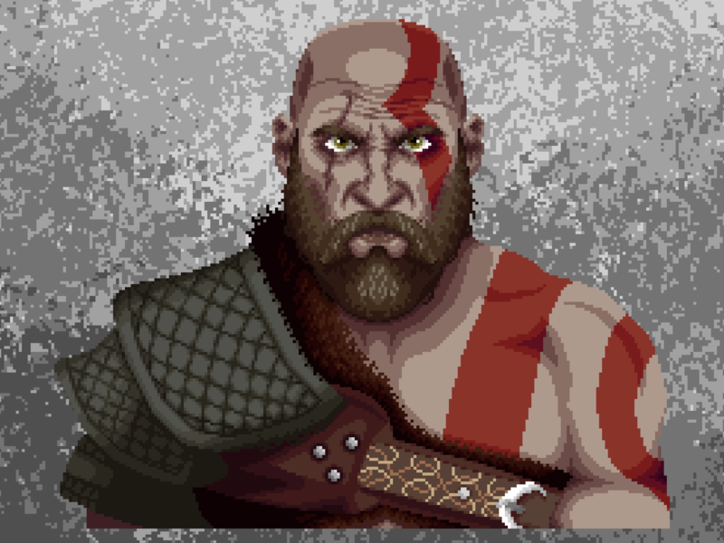 Kratos Old 4 war of god kratos art apuk1 pixel art pixel