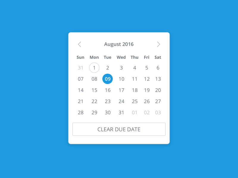 Due Date Selector day clear month due date ui project management date calendar