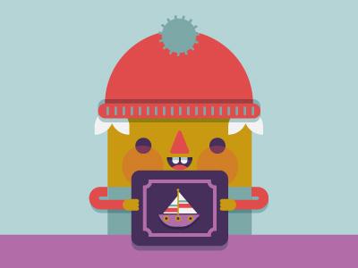 Hubert likes boats sailboat sail dorky cute geometric flashcards hat teeth