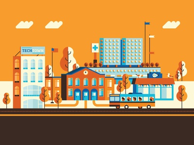 Tech Town school illustration flat public transportation bus seagulls fish seattle city town tech